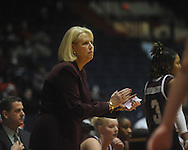 "Mississippi State coach Sharon Fanning-Otis in a NCAA women's college basketball game at the C.M. ""Tad"" Smith in Oxford, Miss. on Thursday, February 10, 2011.   Mississippi State won 59-43.."