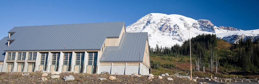 The new Henry M Jackson Visitor Center construction was opened in 2008 at Paradise Meadows of Mount Rainier National Park, WA, USA.