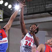 Grand Rapids Drive Center Hasheem Thabeet (34) attempts a short range shot in the second half of a NBA D-league regular season basketball game between the Delaware 87ers and the Grand Rapids Drive (Detroit Pistons) Saturday, Apr. 04, 2015 at The Bob Carpenter Sports Convocation Center in Newark, DEL.