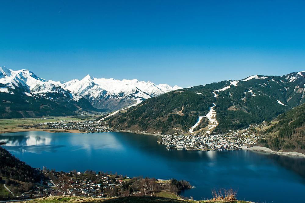 View towards the Kitsteinhorn looking over Zeller See, Zell Am See, Austria