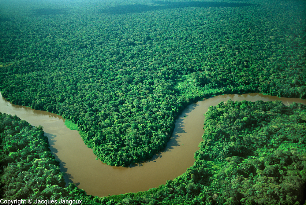 Brazil, Para, river winding in tropical rainforest.