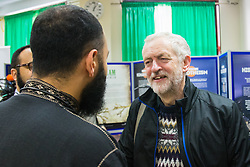 Finsbury Park Mosque, London, February 7th 2016. Labour Leader and local MP Jeremy Corbyn chats with members of Finsbury Park Mosque as part of a Visit My Mosque initiative by the Muslim Council of Britain to show non-Muslims &ldquo;how Muslims connect to God, connect to communities and to neighbours around them&rdquo;.<br /> . ///FOR LICENCING CONTACT: paul@pauldaveycreative.co.uk TEL:+44 (0) 7966 016 296 or +44 (0) 20 8969 6875. &copy;2015 Paul R Davey. All rights reserved.