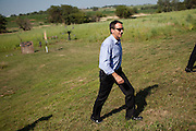 Former Minnesota Gov. Tim Pawlenty campaigns for the GOP presidential nomination at a gun range in Madrid, Iowa, July 20, 2011.