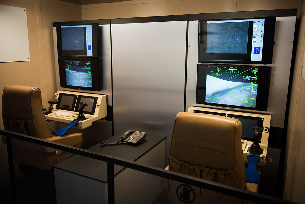 "30206010A - DRONES - A General Atomics MQ-1 Predator drone control station is displayed at the ""Drones: Is the Sky the Limit?"" exhibit at the Intrepid Sea, Air, and Space Museum in New York, NY on May 9, 2017."