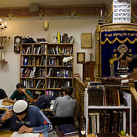 **FILE** Yeshivah (talmudic school) student pray and study in a synagogue that belong to Ateret Cohanim, a right-wing&nbsp;NGO that&nbsp;works diligently to acquire Palestinian homes in the Muslim Quarter of the Old City in Jerusalem.<br /> Photo by Olivier Fitoussi.