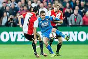 ROTTERDAM - Feyenoord - AZ , Voetbal , Eredivisie, Seizoen 2015/2016 , Stadion de Kuip , 25-10-2015 , AZ speler Vincent Janssen (2e r) in duel met Jan-Arie van der Heijden (r) en Marko Vejinovic (l)