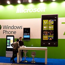 MILAN, ITALY - OCT. 21: Windows Phone desk during SMAU, International Exhibition of Information and Communication Technology on October 20, 2010 in Milan, Italy.