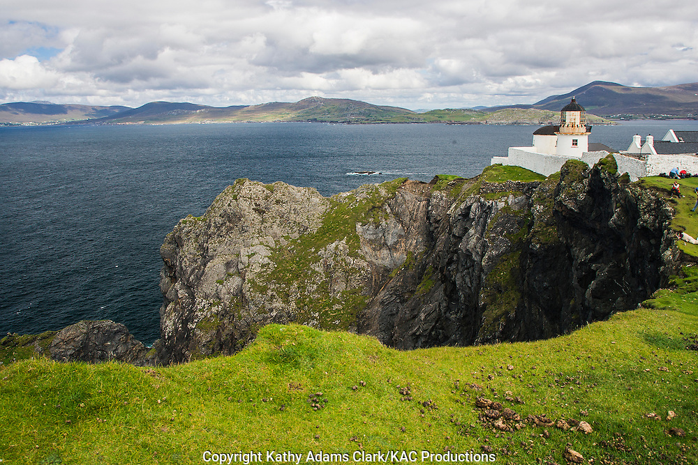 Clare Island lighthouse off coast of western Ireland.
