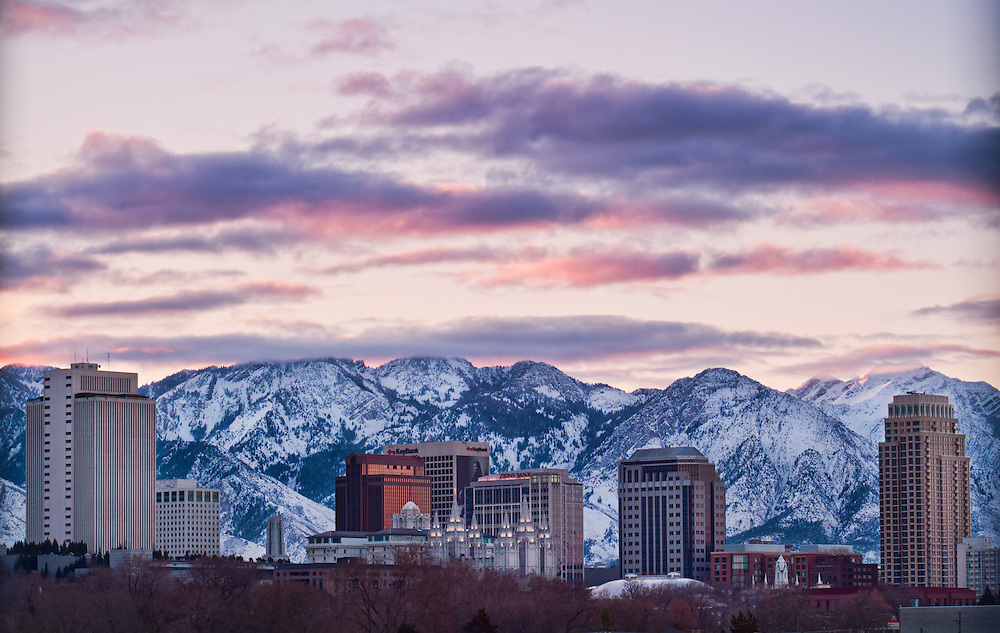 Salt Lake City Skyline Sunrise - Salt Lake City ...