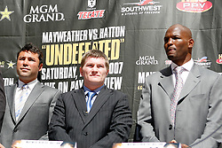 September 19, 2007; New York, NY, USA; World Junior Welterweight Champion Ricky Hatton with Oscar DeLaHoya (l) and Bernard Hopkins (r) at the press conference announcing Hatton's bout against World Welterweight Champion Floyd Mayweather Jr.  The fight will take place on December 8, 2007 at the MGM Grand Garden Arena in Las Vegas, Nevada.