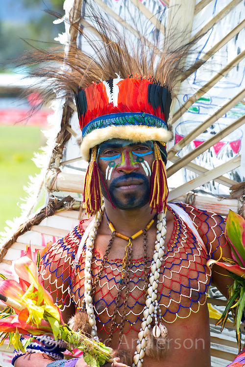 Portrait of a man from the Bena tribe dressed in traditional tribal outfit for the Goroka Show, an annual festival in the Papua New Guinea Highlands