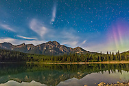 The Big Dipper over Pyramid Mountain at Patricia Lake in Jasper National Park, Alberta. I shot this Sept 4, 2014 as part of a 450-frame time-lapse sequence with a static camera. This is a 20-second exposure with the 14mm Rokinon lens at f/2.8 on the Canon 60Da at ISO 1600. Light is from the waxing gibbous Moon.