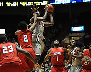 "Ole Miss' Terrance Henry (1) vs. Louisiana-Lafayette at C.M. ""Tad"" Smith Coliseum in Oxford, Miss. on Wednesday, December 14, 2011. (AP Photo/Oxford Eagle, Bruce Newman)"