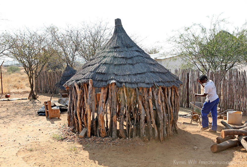 Africa, Namibia, Windhoek.  A traditional Namibian dwelling at Penduka development cooperation organization near Windhoek.