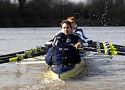 PUTNEY, LONDON, ENGLAND, 19.03.2006, Pre 2006 Boat Race Fixture, Oxford UBC vs  Imperial BC. over the Championship Course, from Putney to Mortlake.   © Peter Spurrier/Intersport-images.com.Oxford, Cox: Sebastian (Seb) Pearce, Stroke, Bastien Ripoll,[Mandatory Credit Peter Spurrier/ Intersport Images][Mandatory Credit Peter Spurrier/ Intersport Images] Varsity Boat Race, Rowing Course: River Thames, Championship course, Putney to Mortlake 4.25 Miles