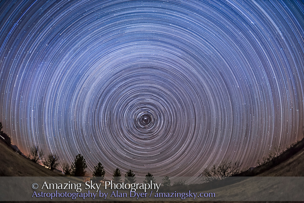 Circumpolar star trails from latitude +32° from southern Arizona, December 2015, from the Quailway Cottage. This is a stack of 300 exposures, each 45s at f/2.8 with the 15mm full-frame fish-eye lens, and at ISO 2500 with the Canon 6D. Taken as part of a time-lapse sequence. Stacked with Advanced Stacker Plus actions with the Elastic Stars effect. The ground is from an average stack of 8 exposures at the end of the sequence.
