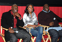 """Morris Chestnut, Gabrielle Union and Faizon Love answer questions after a screening of the movie, """"A Perfect Holiday"""" in Washington, DC on December 4, 2007"""
