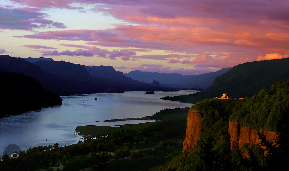 A beautiful sunset over the Columbia River Gorge and Vista House which received had a $2 million historical restoration.
