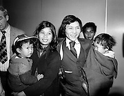 As part of a resettlement plan initiated by the United Nations, Ireland agreed to welcome a number of Vietnamese families displaced by the Vietnam war. Here, Mr Nga Van Thai, his wife and two children arrive at Dublin Airport, as part of a group of seventeen who hoped to settle here.<br />18 March 1981