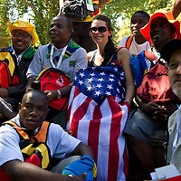 A group from Tanzania, Africa with an American from 'World Mission'