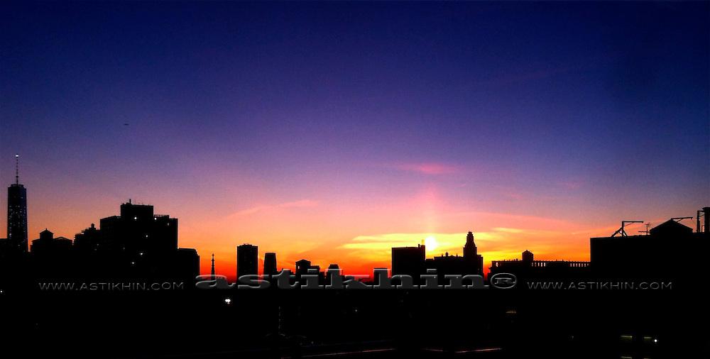 Sunset in Manhattan New York City.