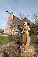 Saint Labre Indian School, founded 1884, statue of St Benedict Joseph Labre, Ashland, Montana