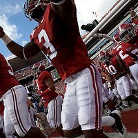 TUSCALOOSA, AL -- October, 24, 2009 -- University of Alabama defensive backs Kareem Jackson, center, and Marquis Johnson, right, head onto the field prior to the Crimson Tide's 12-10 victory over the University of Tennessee Volunteers at Bryant-Denny Stadium in Tuscaloosa, Ala., Saturday, Oct. 24, 2009.