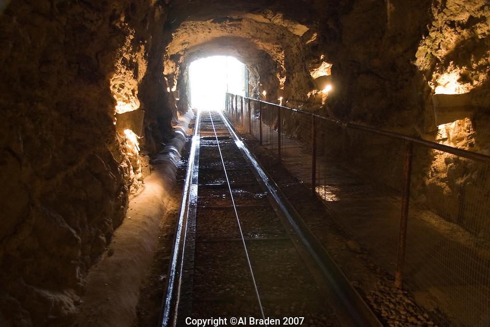 Rail entrance to Inner Space Cavern near Austin, TX.