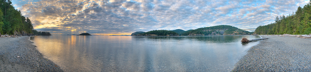 Panoramic photograph Deception Pass, Puget Sound, Washington state.  Print Size (in inches): 15x3.5; 24x5.5; 36x8; 48x11; 60x14; 72x16.5