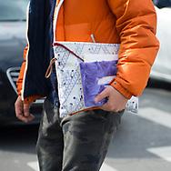 Orange Puffer and Print Portfolio, Outside Miu Miu FW2017