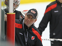 May 29; Newark, NJ, USA; New Jersey Devils head coach Peter DeBoer talks to his team during Stanley Cup Finals media practice day at the Prudential Center.