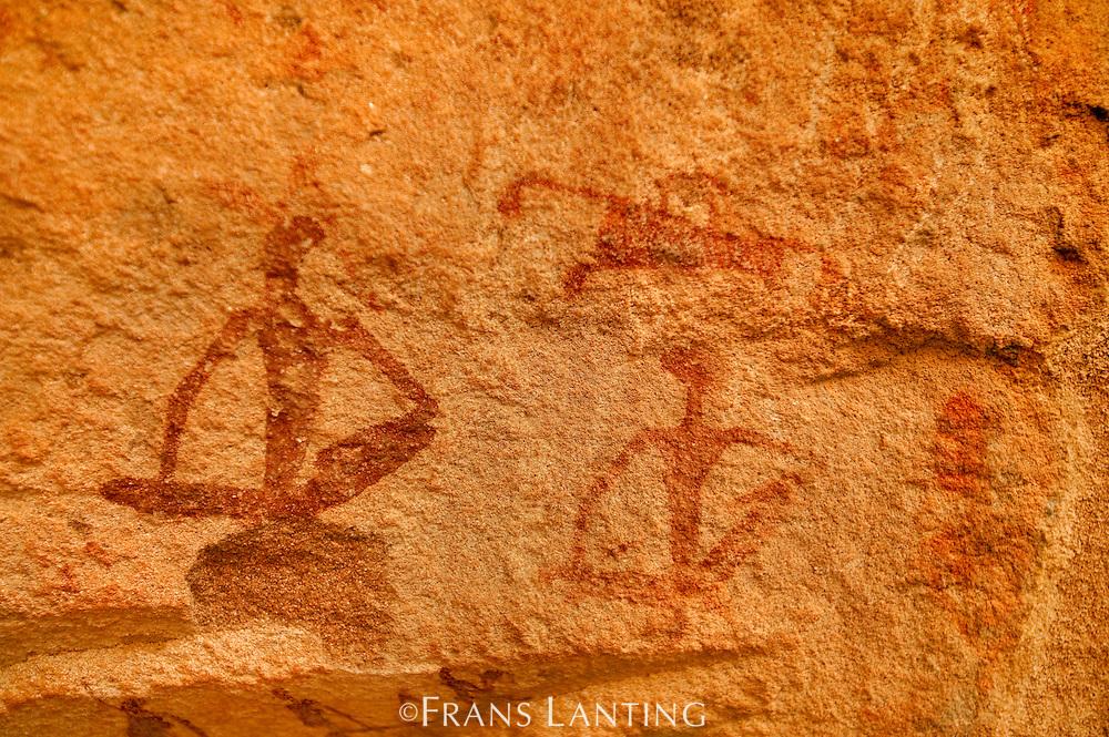 Human figures, rock painting, Twyfelfontein World Heritage Site, Uibasen Conservancy, Damaraland, Namibia