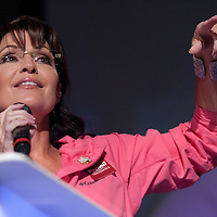 Sarah Palin, Tea Party advocate and Joe Miller supporter gives a speach at a Joe Miller rally during the 2010 United States senate race