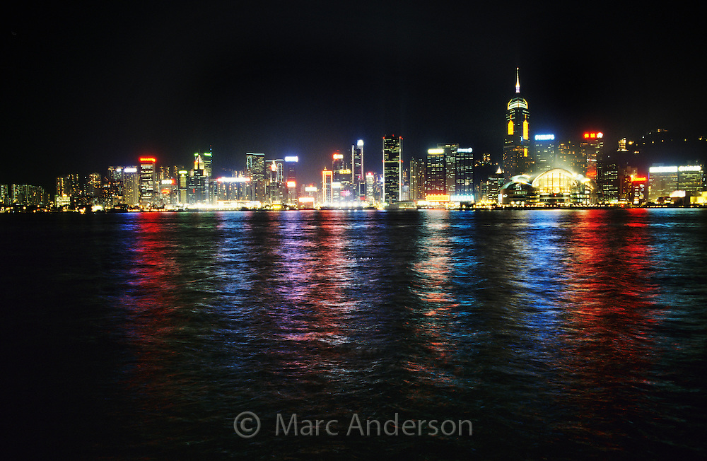 Hong Kong skyline and Kowloon bay at night, Hong Kong, China.