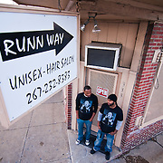 12/29/10 Wilmington DE: Jonathan Simmons (Left) And Shawn Donato (Right) Barbers at Runn Way In Wilmington, Moreover they also are the neighborhood Mentors to the South Bridge youth coming up today.  taken in Wilmington Delaware Wednesday afternoon...Special to The News Journal/SAQUAN STIMPSON