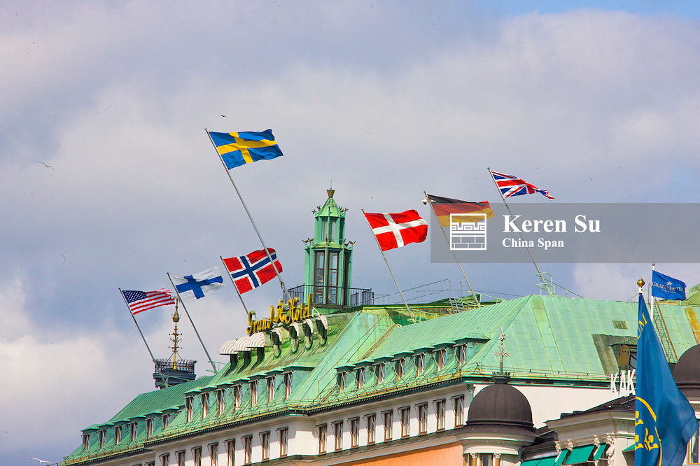 Buidling with flags, Stockholm, Sweden