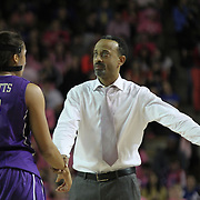 James Madison Head Coach Kenny Brooks signals to James Madison Forward Toia Giggetts (3) to head to the sidelines in the second half of a regular season NCAA basketball game against Delaware Sunday, Feb 24, 2013 at the Bob Carpenter Center in Newark Delaware.