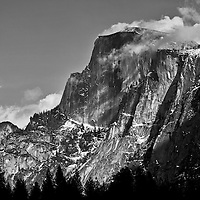 Winter scenes in Yosemite Valley located in the Yosemite National Park..A winter view of Half Dome.