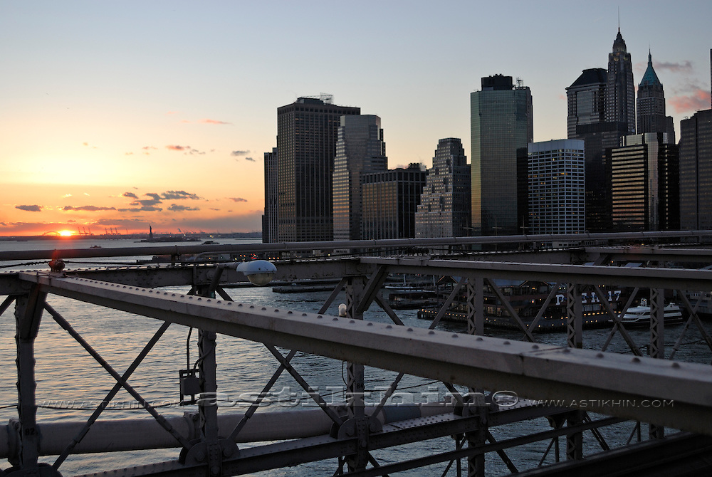 Sunset from Brooklyn Bridge.