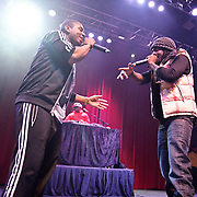 SILVER SPRING, MD - January 1st, 2012 - Rapper and D.C. native Wale (right) performs at the Fillmore Silver Spring in Silver Spring, MD with his hype man Tre and DJ 5'9. Wale released his sophomore album, Ambition, in November. (Photo by Kyle Gustafson/For The Washington Post).