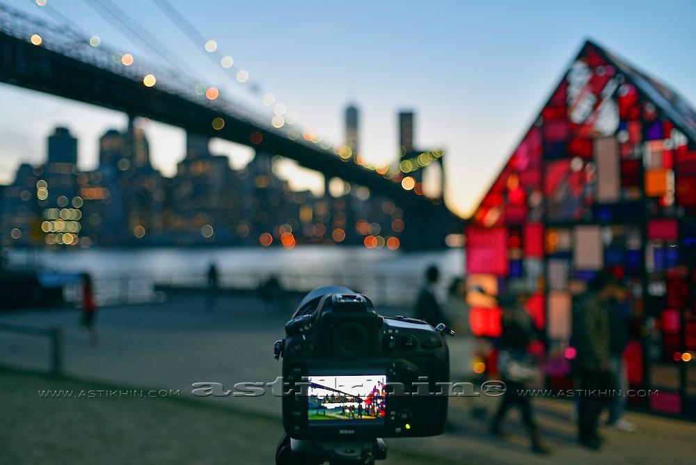 Night skyline of Manhattan from Brooklyn.