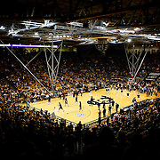 SHOT 1/21/12 6:13:21 PM - Colorado and Arizona men's basketball teams take the floor for the second half during their PAC 12 regular season men's basketball game at the Coors Events Center in Boulder, Co. Colorado won the game 64-63..(Photo by Marc Piscotty / © 2012)