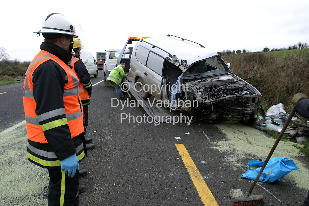 19/1/2004.The jeep which was involved in a traffic accident on the New Ross to Waterford road which resulted in a fatality..Picture Dylan Vaughan