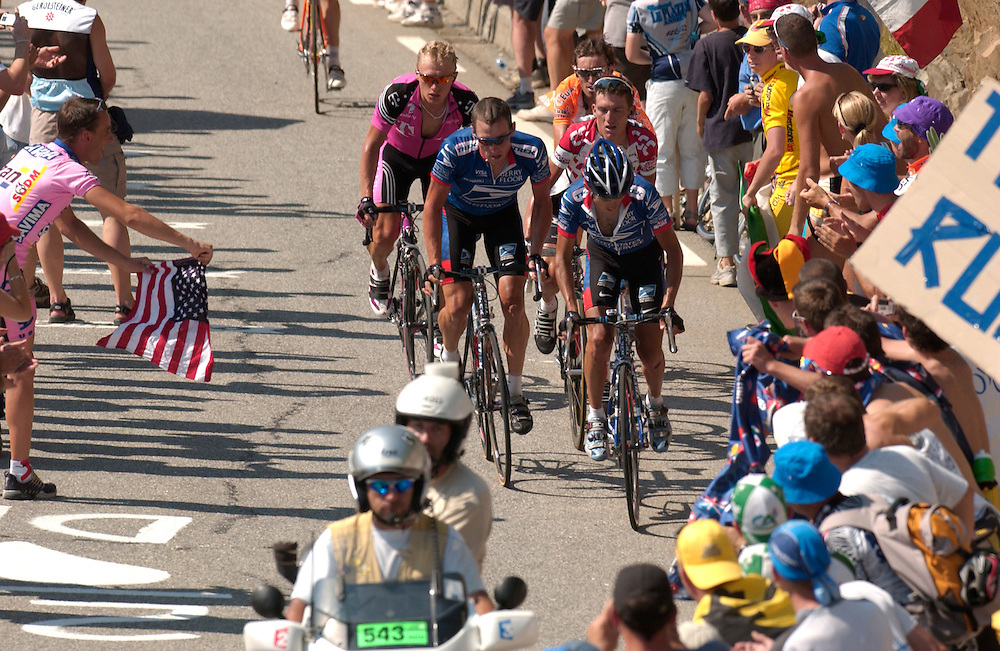 The Tour de France on its most famous climb, Alp D'Huez. 2003.