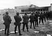 1980 prison riot, Santa Fe, NM.   Then Gov. Bruce King called the National Guard during the murderous riot in February 1980 in which rampaging inmates killed 33 other prisoners and injured scores more inmates and guards.  New Mexico Penitentiary.