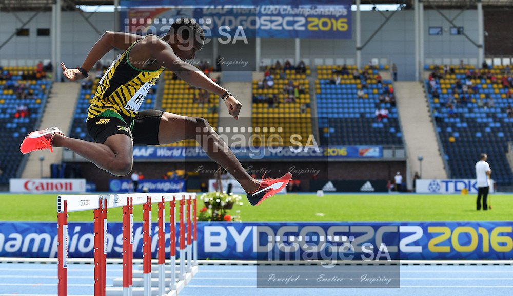 BYDGOSZCZ, POLAND - JULY 21: Jaheel Hyde of Jamaica in the heats of the mens 400m hurdles during day 3 of the IAAF World Junior Championships at Zawisza Stadium on July 21, 2016 in Bydgoszcz, Poland. (Photo by Roger Sedres/Gallo Images)