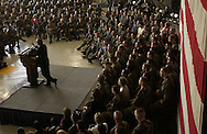 .Secretary of Defense Donald H. Rumsfeld answers a question from the audience during a town hall meeting at Osan Air Base, South Korea, on Nov. 18, 2003. Rumsfeld is traveling to Guam, Japan and South Korea to meet with U.S. military forces and the local military and civilian leadership.
