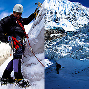Peruvian mountain guide Abel Colana ice climbs at the White Mountain range  near Huaraz, Peru, Saturday, Jan. 15, 2011.(Photo Dado Galdieri)
