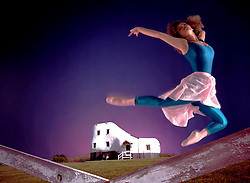 Haines shoe house Ballet dancer leaps over fence of shoe house Fairy tale old lady who lived in a shoe