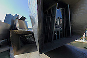 Various windows of the Guggenheim museum in Bilbao, designed by American architect Frank Gehry. Viewed from the east, from the Puente de la Salve
